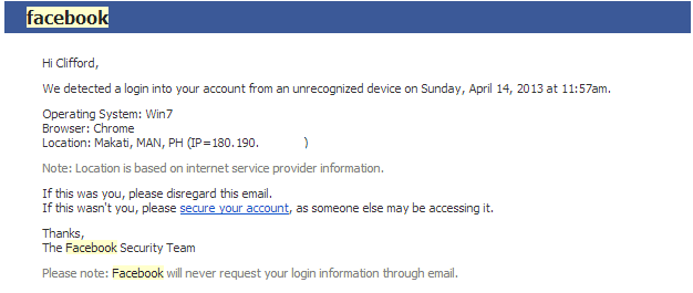 Facebook email notification