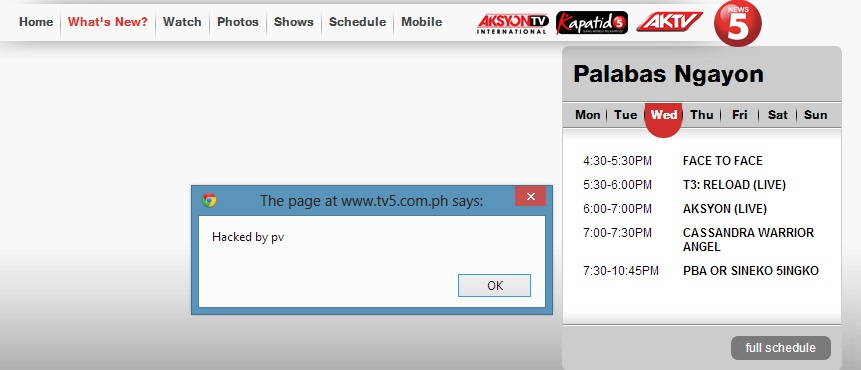 pinoy vendetta pop up message tv5 hacked