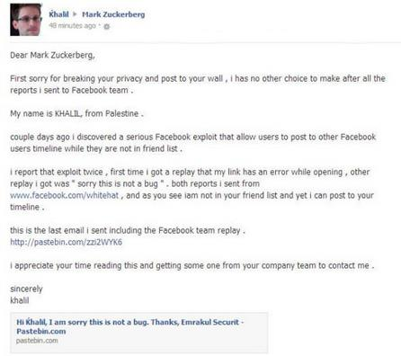 Hacker demoed Facebook flaw in Mark Zuckerberg's timeline after got denied message