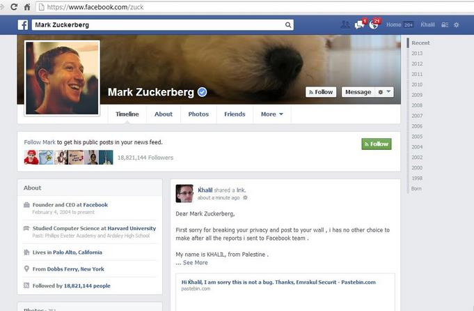 Hacker demoed Facebook flaw in Mark Zuckerberg's timeline after got denied
