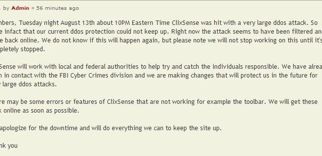 Paid-to-click advertising clixsense hit by DDOS