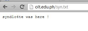 Security notification on 2 edu websites by syndicate.